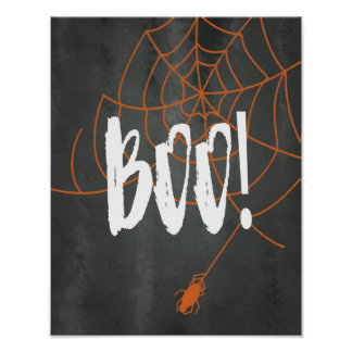Chalkboard Orange Spider Web Halloween Boo! Sign