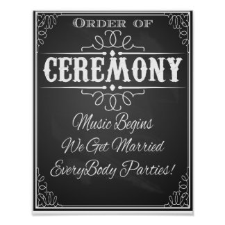 Chalkboard order of ceremony wedding print