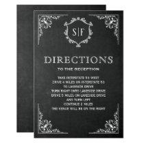 Chalkboard Ornate Monogram Directions Card