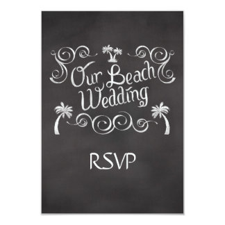 Chalkboard Our Beach Wedding Matching RSVP Reply 3.5x5 Paper Invitation Card