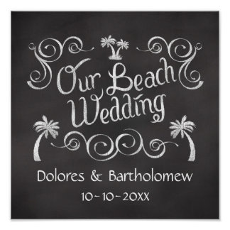 Chalkboard Our Beach Wedding Sign Poster