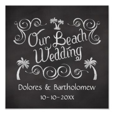 Beach Themed Chalkboard Our Beach Wedding Sign Poster