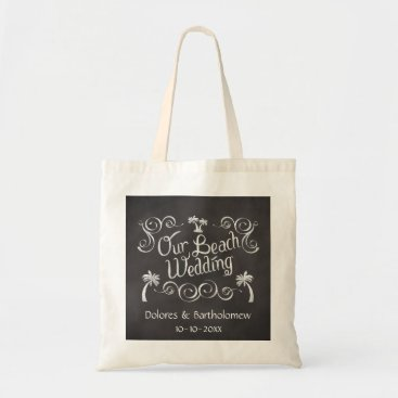 Beach Themed Chalkboard Our Beach Wedding Tote Bag