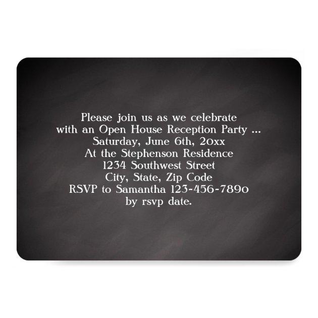 Chalkboard Overlay High School Photo Graduation 5x7 Paper Invitation Card (back side)