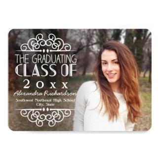 Chalkboard Overlay High School Photo Graduation Card