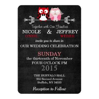 Chalkboard Owl Bride & Groom Wedding Invitation