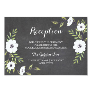Chalkboard Painted Anemones - Reception card