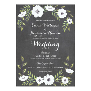 Chalkboard Painted Anemones Wedding Invitation
