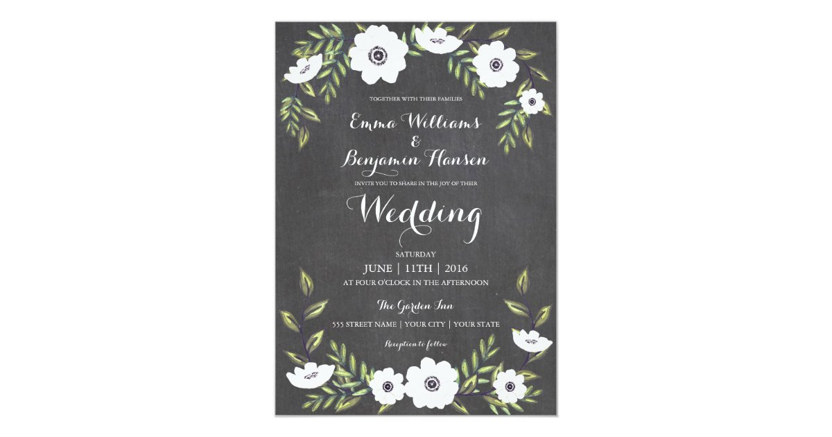 Painted Wedding Invitations: Chalkboard Painted Anemones - Wedding Invitation