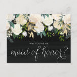 """Chalkboard Pale Peonies Be My Maid of Honor Invitation Postcard<br><div class=""""desc"""">Ask your friends and family to be a part of your wedding with this floral &quot;Will You Be My Maid of Honor&quot; card featuring watercolor peonies with gold foil and gold glitter accents with faux chalkboard background. Matching items are available.</div>"""