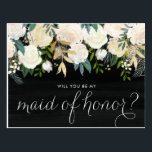 "Chalkboard Pale Peonies Be My Maid of Honor Postcard<br><div class=""desc"">Ask your friends and family to be a part of your wedding with this floral &quot;Will You Be My Maid of Honor&quot; card featuring watercolor peonies with gold foil and gold glitter accents with faux chalkboard background. Matching items are available.</div>"