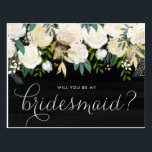 "Chalkboard Pale Peonies Will You Be My Bridesmaid Postcard<br><div class=""desc"">Ask your friends and family to be a part of your wedding with this floral &quot;Will You Be My Bridesmaid&quot; card featuring watercolor peonies with gold foil and gold glitter accents with faux chalkboard background. Matching items are available.</div>"