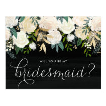 Chalkboard Pale Peonies Will You Be My Bridesmaid Postcard