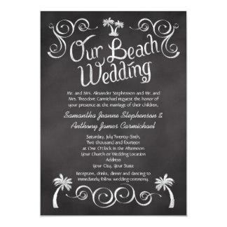 Chalkboard Palm Tree Beach Wedding 5x7 Paper Invitation Card