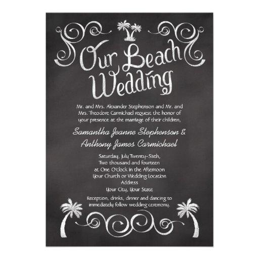 Chalkboard Palm Tree Beach Wedding Custom Invitation