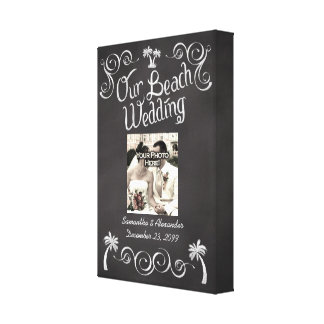 Chalkboard Palm Tree Beach Wedding Photo Canvas Print