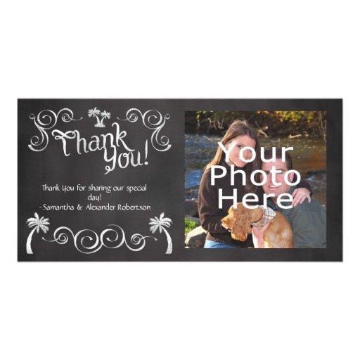 Chalkboard Palm Tree Beach Wedding Photo Thank You Customized Photo Card