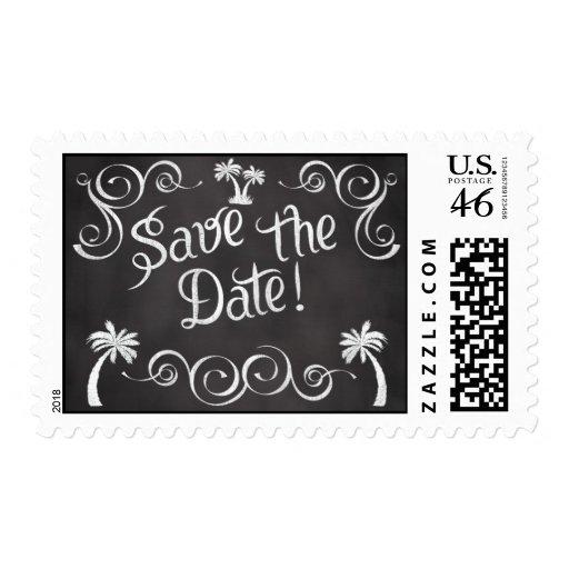 Chalkboard Palm Tree Beach Wedding Stamps
