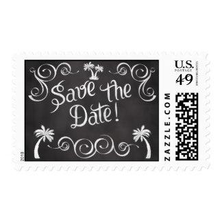 Chalkboard Palm Tree Beach Wedding Postage Stamps
