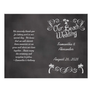"Chalkboard Palm Tree Beach Wedding Program 8.5"" X 11"" Flyer"