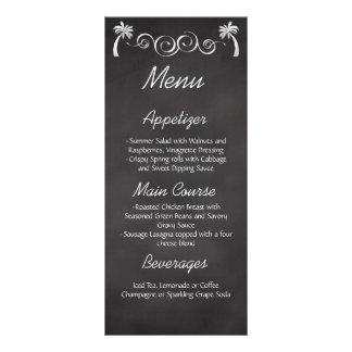 Chalkboard Palm Tree Beach Wedding Reception Menu Customized Rack Card