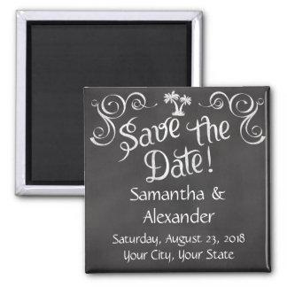 Chalkboard Palm Tree Beach Wedding Save the Date Magnet