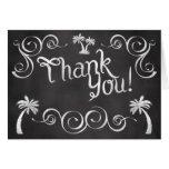 Chalkboard Palm Tree Beach Wedding Thank You Stationery Note Card