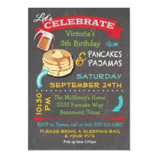 Chalkboard Pancakes and Pajamas Birthday Party Card