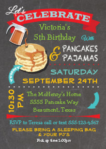 Pancakes and pajamas invitations zazzle chalkboard pancakes and pajamas birthday party invitation filmwisefo