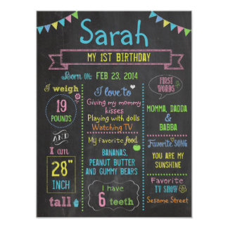Chalkboard Party personalized 1st birthday poster