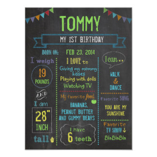 Chalkboard Party personalized boy birthday poster