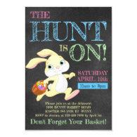 Chalkboard Pastel Bunny Rabbit Easter Egg Hunt Invitation