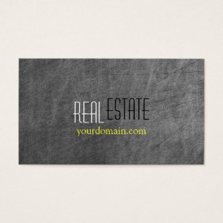 Chalkboard Pattern Gray Yellow Agent Business Card