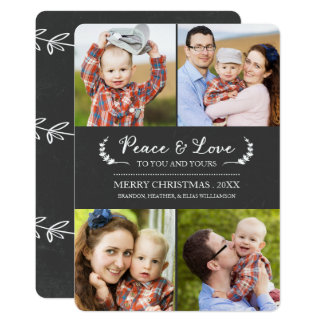 Chalkboard Peace and Love Holiday Photo Card