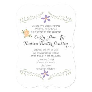 Chalkboard Peach Lilac Aqua Floral Garland Wedding Invitation
