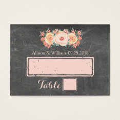 Chalkboard Peach Pink Floral Place Setting Cards at Zazzle