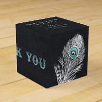 Chalkboard peacock custom wedding favor box