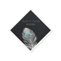 chalkboard peacock personalized wedding napkins