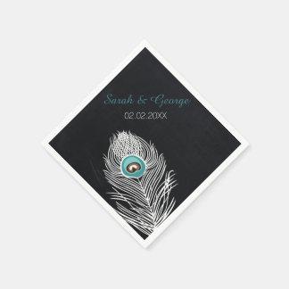 chalkboard peacock personalized wedding napkins
