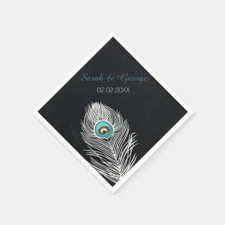 chalkboard peacock personalized wedding napkins paper napkin
