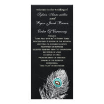 Chalkboard peacock wedding programs tea length