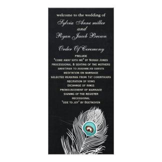Chalkboard peacock wedding programs tea length rack card design