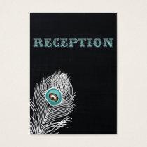 Chalkboard peacock wedding reception invite