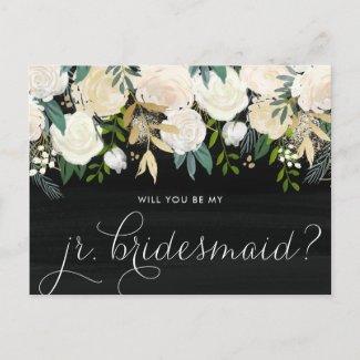 Chalkboard Peonies Will You Be My Jr. Bridesmaid Invitation Postcard