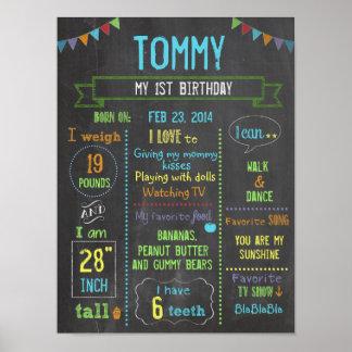 Chalkboard personalized boy birthday poster