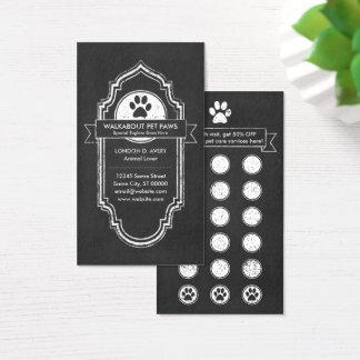 CHALKBOARD pet paw loyalty program Business Card