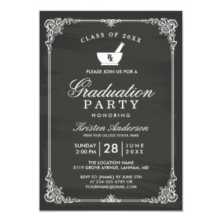 Chalkboard Pharmacy School Graduation Party Card