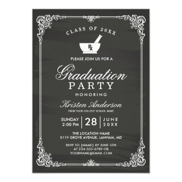 Beach Themed Chalkboard Pharmacy School Graduation Party Card
