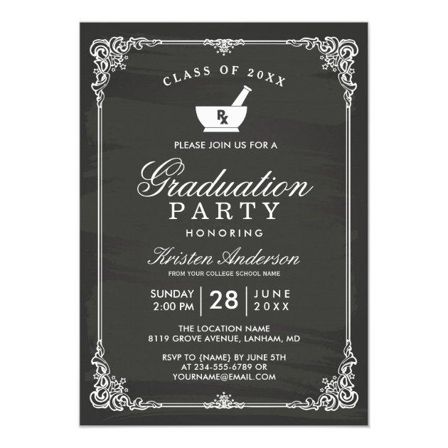 Chalkboard Pharmacy School Graduation Party Card
