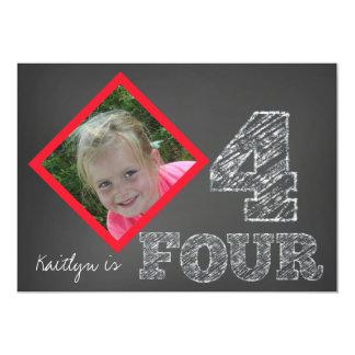 Chalkboard Photo 4th Birthday Invitation